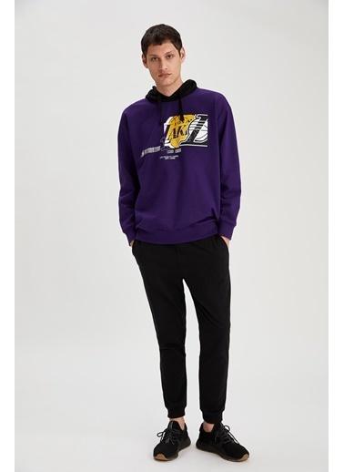 Defacto –Fit NBA Lisanslı Oversize  Unisex Kapüşonlu Sweatshirt Mor